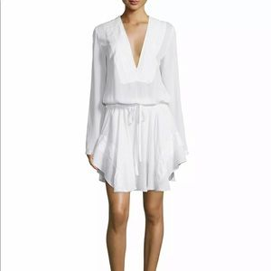 ALC White Silk Long Sleeve Tie Waist Mini Dress